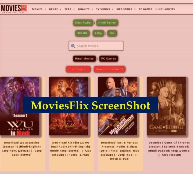 Moviesflix Website Screenshot
