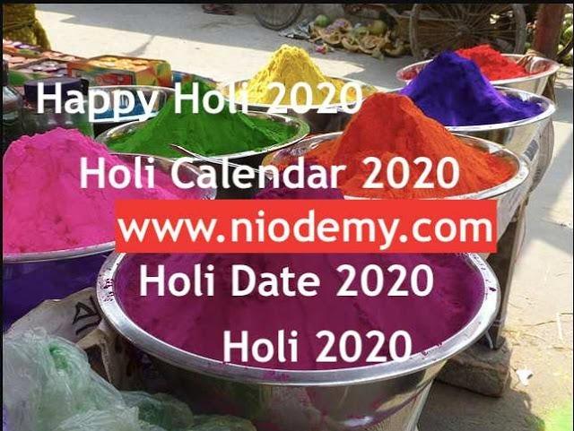 holi calendar 2020