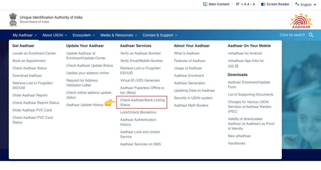 Aadhar Bank Account link Status