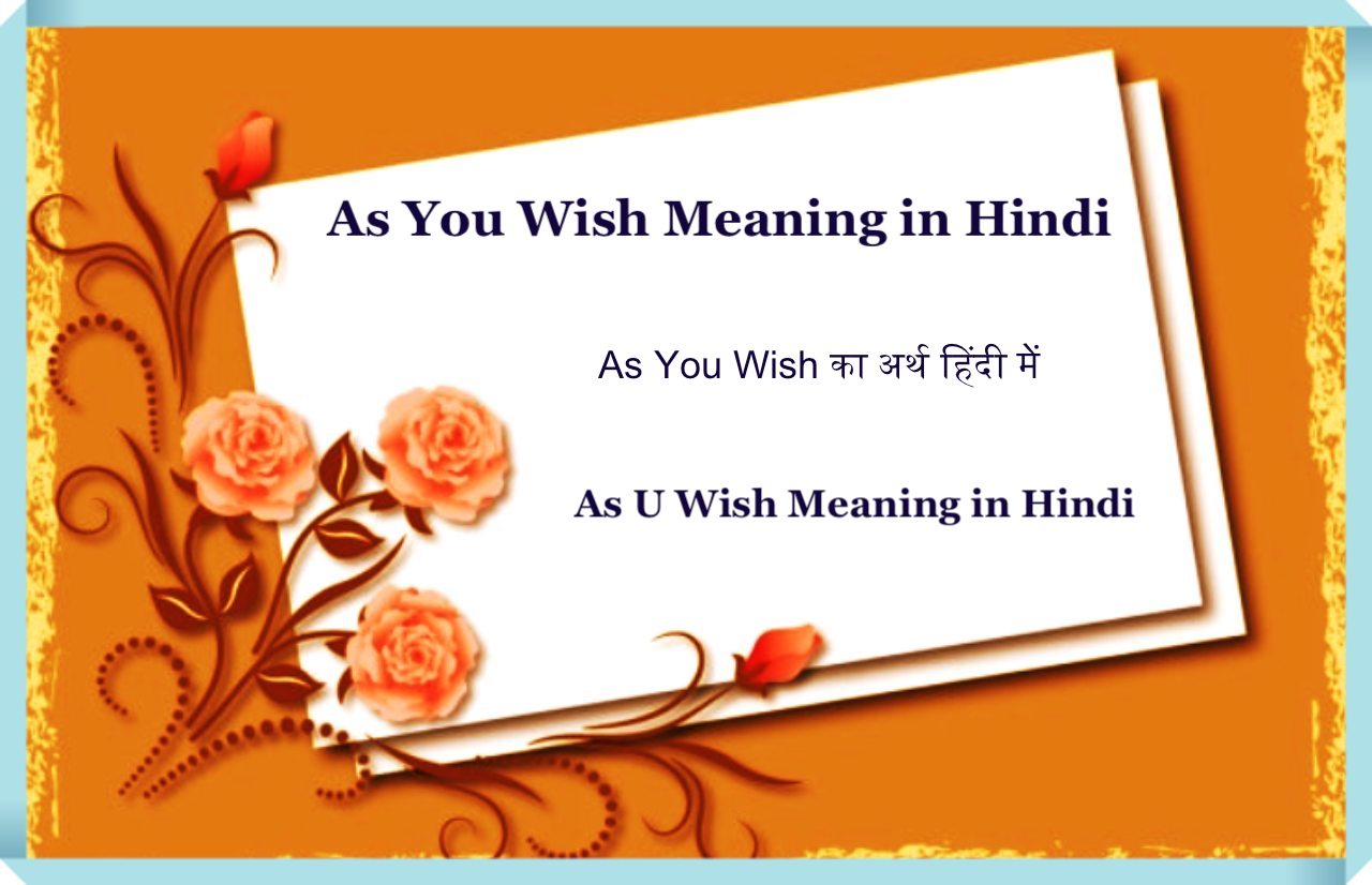 As You Wish Meaning in Hindi
